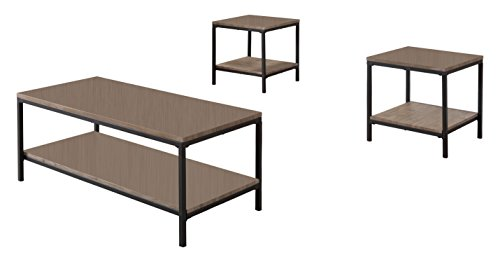 Kings Brand 3 Piece Gray / Black Occasional Table Set, Coffee Table & 2 End Tables by Kings Brand Furniture (Image #2)'
