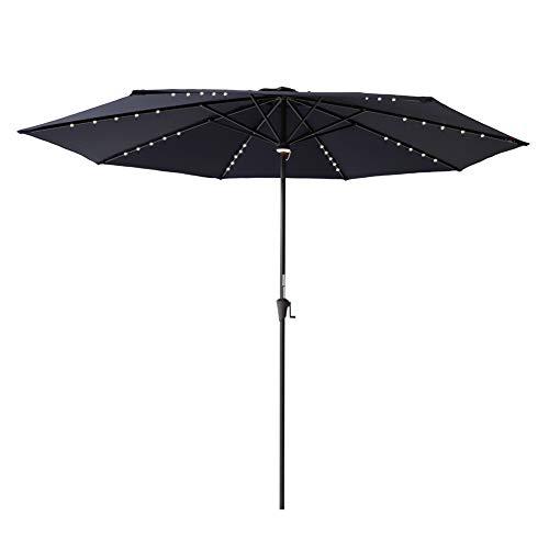 C-Hopetree 11 feet Lighted Sun Shade Patio Umbrella Crank Winder Navy ()