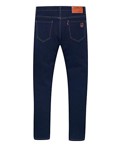Alta Pantalon Uomo Tempo Blu Vita Pantaloni Denim Nero Da Jeans Elasticizzati Straight Libero ZvvUnd