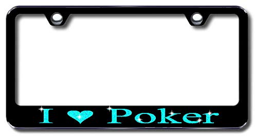 Aluminum I Love Poker Design License Plate Frame with Swarovski Crystal Bling Diamond (Black License Plate, Light Blue Crystals) -  Simply Infinite Productions