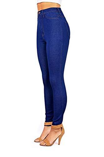 Alto 2color Lunghi Con Yulinge Tasca Pantaloni In Jeans Le Blu Denim Donne Magre wx16XH