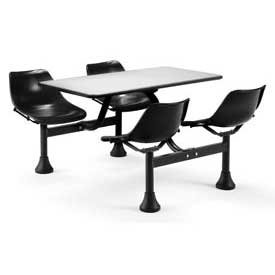 th 4 Attached Swivel Chairs and Stainless Steel Top, Black ()