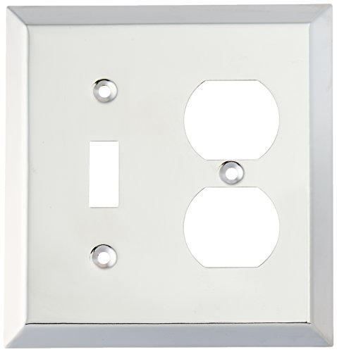 Amerelle 161TD 1 Toggle/1 Duplex Outlet Traditional Steel Wallplate, Polished Chrome (Chrome Outlet Cover compare prices)