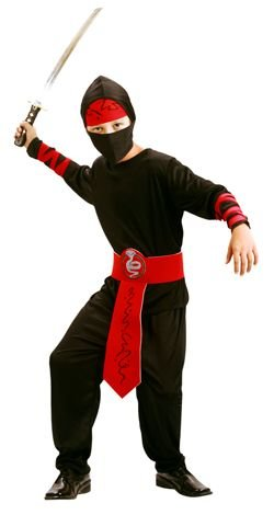 Boys Toys Disfraz Ninja Gris/Rojo 5-6 años: Amazon.es: Juguetes y ...