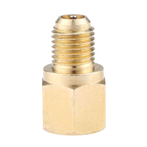 """R134A Refrigerant Tank Adapter, 1/4"""" Male to 1/2"""" Acme Female R134A Brass Vacuum Pump Adapter with AC Fitting Valve Core"""