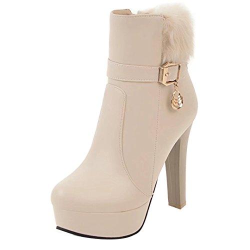 AIYOUMEI Damen Geschlossen Stiletto High Heels Herbst Winter Stiefeletten mit Schnalle Ankle Boots alRM599K