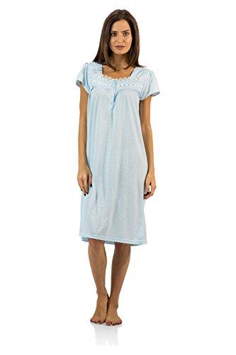 Casual Nights Women's Polka Dot Lace Short Sleeve Nightgown, Light Blue, 4X Plus ()