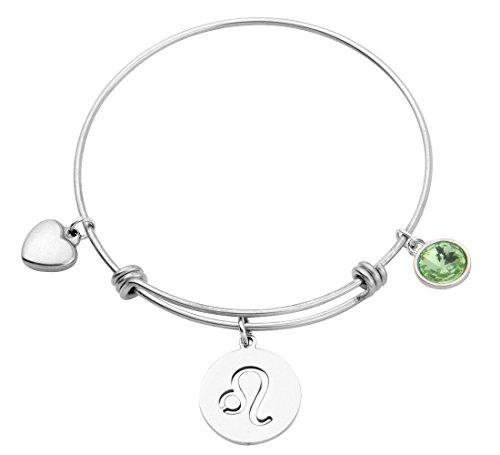 KUIYAI Stainless Steel Zodiac Sign and Birthstone Charm Necklace Bracelet (August-Leo bracelet)