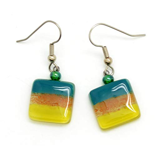 Tiny Square Fused Glass Earrings - Teal Blue & Chartreuse Yellow