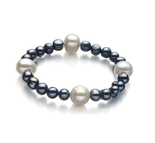 Irina Black and White 6-11mm A Quality Freshwater Cultured Pearl Bracelet for Women-7 in Length