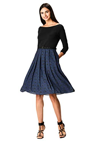 eShakti FX Cat Print Belted Mixed Media Dress S-6 Black/Navy/Off-White
