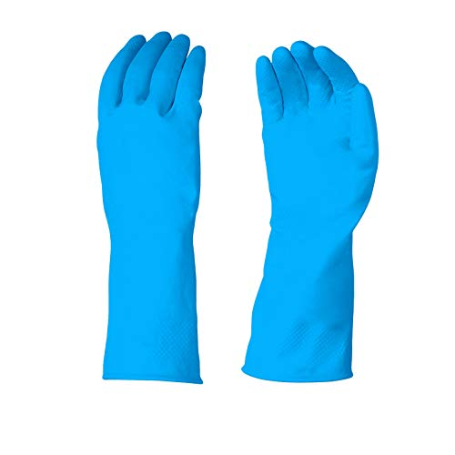 AmazonBasics Professional Reusable Rubber Gloves, Medium, Blue, 3-Pack