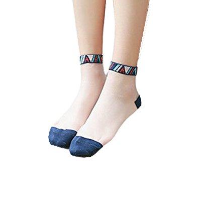 Silky Transparent Folk-custom High Ankle Sheer Socks for Women Anti-slip(Set of 4 Pairs) by AOASK