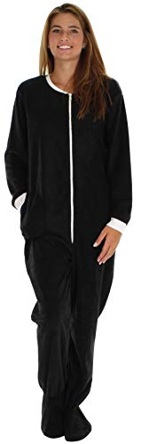 PajamaMania Women's Sleepwear Fleece Footed Onesie Pajamas Black with White (PM17-W-BWW-XS)