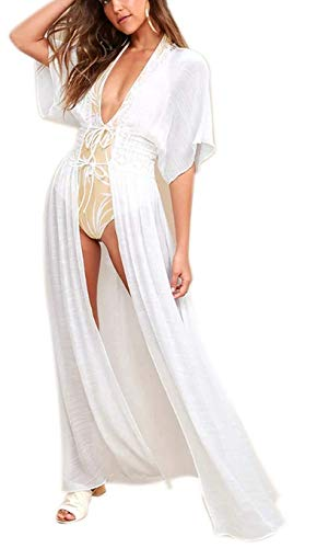 Kimono sherr Jacket lace Front Blouse White Cardigan Embroidered with 3/4 Sleeves (One Size, C-White)