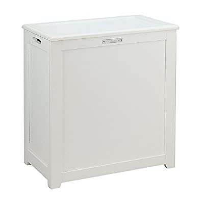 Oceanstar Storage Laundry Hamper, White - Hand grips on both sides for easy carrying Stores various items such as toys, linens, books. . . etc Hinged lid that stays open so you do not need to hold onto the top - laundry-room, hampers-baskets, entryway-laundry-room - 31B5g3eHhNL. SS400  -