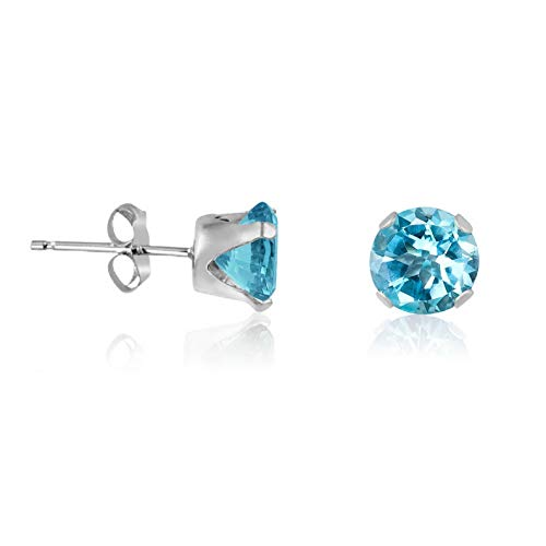 (Crookston Genuine Sky Blue Topaz Gemstone 925 Sterling Silver Round Stud Earrings - March | Model ERRNGS - 15197 | 7mm - Extra Large)