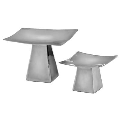 Aluminum Pedestal Candleholders - Set of 2