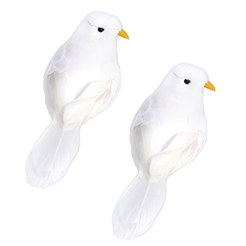 WINOMO 2PCS Artificial Birds Craft Birds Fake Birds Feather Foam Pigeons with Clips for Photo Props Home Decoration