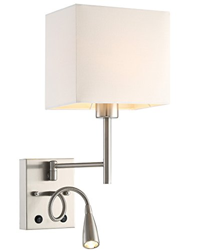 HomeFocus LED Bedside Reading Wall Lamp Light,LED Reading Swing Arm Wall Lamp Light,Wall Sconces,Living Room Wall Lamp,Corridor Wall Lamp,2 Lights 2 Switches LED 3W 3000K and E26 Holder,Top Quality F