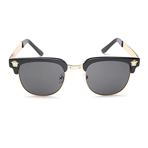 LIKEOY Men Half Frame Horn Rimmed Glasses UV400 Retro Sunglasses - Without Eyeglasses Pieces Nose