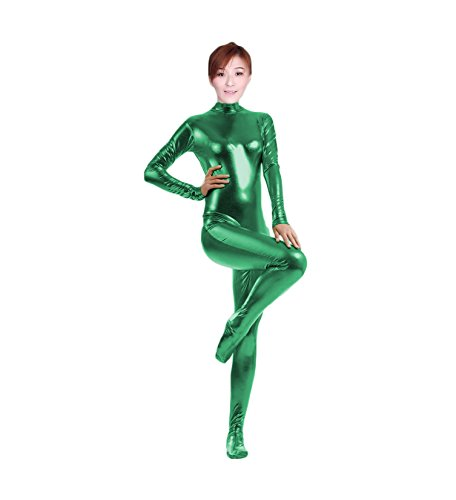 Unitard Dancewear (WOLF UNITARD Shiny Metallic Unitard Catsuit Dancewear X-Large Green)