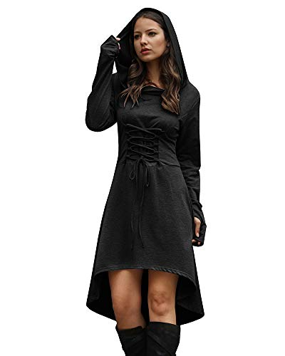 Jeanewpole1 Women Wizard Robe Costumes Hooded Long Sleeve High Low Lace Up Halloween Hoodie Dresses Black