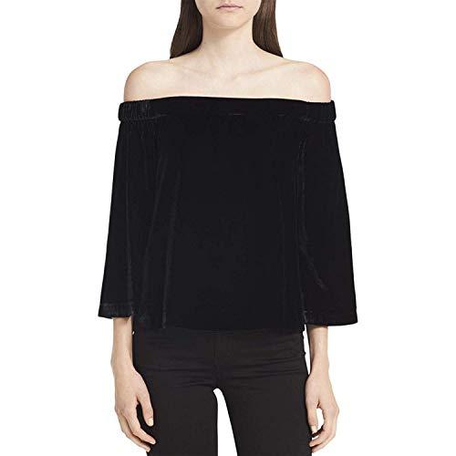 Calvin Klein Jeans Women's Velvet Off-The-Shoulder Pullover Top Black Large ()