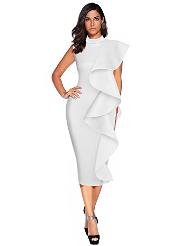 Meilun Womens Sleeveless Patchwork Ruffles Bodycon Vestidos Party Dresses Clubwear (M, White) ()