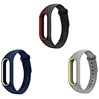 Rapidotzz Silicone Straps Belts/Bands for Xiaomi Mi2 Bracelet Band 2 - Pack of 3