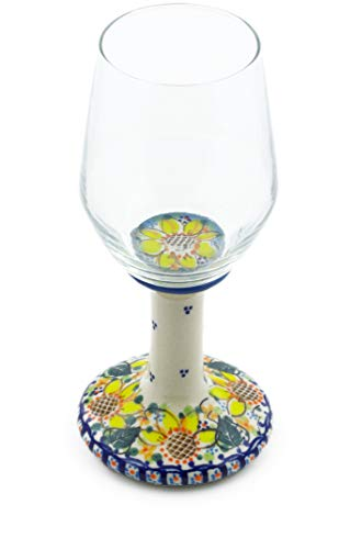 Polish Pottery 9 oz Wine Glass (Sunflower Theme) Signature UNIKAT + Certificate of Authenticity from Polmedia Polish Pottery