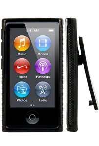 Importer520 Belt Clip TPU Rubber Skin Case Cover for Apple iPod Nano 7th Generation 7G 7 (Black)