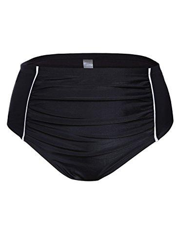 2db9dab0c Gludear Women Plus Size Black High Waist Swim Briefs Bikini  Bottoms
