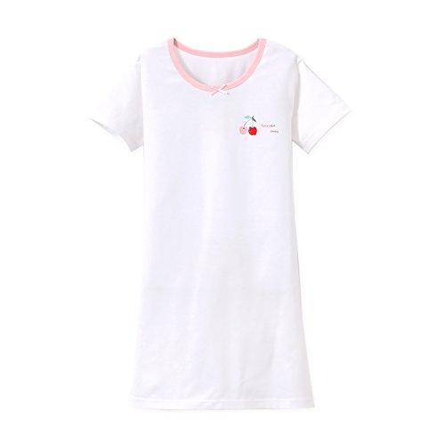 Zegoo Bow Design Fox Print Girls Nightdress White