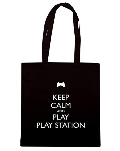 Borsa Shopper Nera TKC3142 KEEP CALM AND PLAY PLAYSTATION