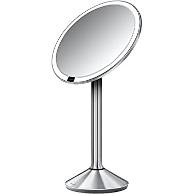 simplehuman 6.5 inch Sensor Mirror - Sensor-Activated Lighted Vanity Mirror, 7x Magnification