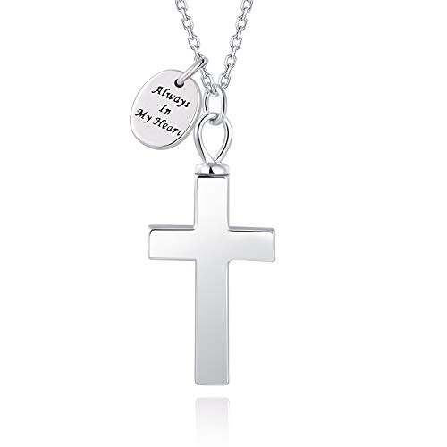 BEILIN S925 Sterling Silver Cross Urn Necklace - Always in My Heart Cross Cremation Jewelry for Ashes