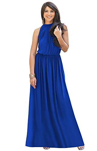 KOH KOH Plus Size Womens Long Sexy Sleeveless Bridesmaid Halter Neck Wedding Party Guest Summer Flowy Casual Brides Formal Evening A-line Gown Gowns Maxi Dress Dresses, Cobalt Royal Blue 3XL 22-24