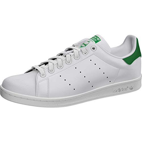 adidas Originals Men's Stan Smith Leather Sneaker, Footwear White/Core White/Green, 8.5
