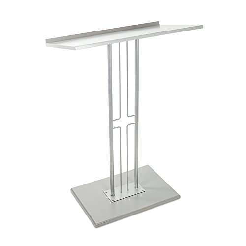 Source One Silver & Black Floor Podium Premium Steel with Wood Base, Slanted Top with Lip 45.5″ Tall (Steel Lectern)