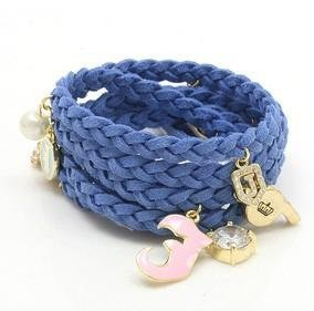 niceeshop(TM) Fashion Synthetic Leather Woven Bracelet with Charms,Blue