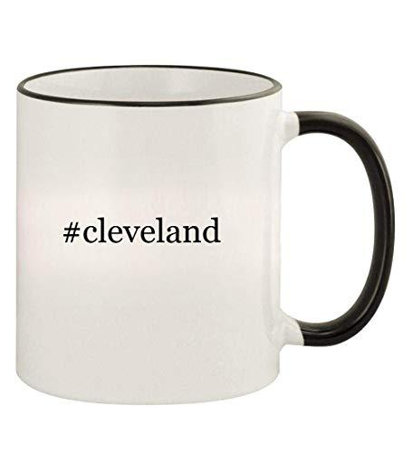 #cleveland - 11oz Hashtag Colored Rim and Handle Coffee Mug, Black