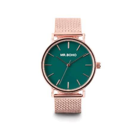 Reloj Mr Boho para Mujer con Correa en Bronce y Pantalla en Verde 00728456