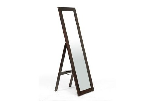- Baxton Studio Lund Dark Brown Wood Modern Mirror with Built-in Stand
