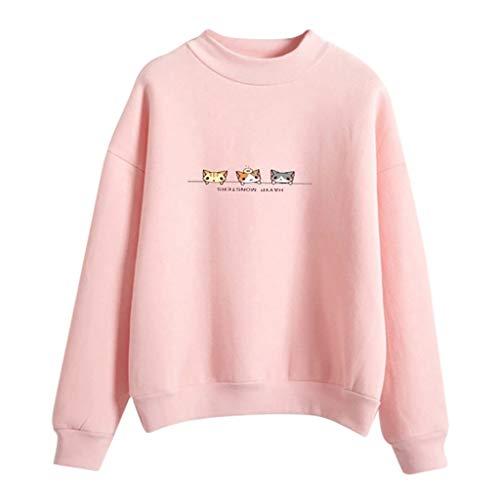 HHei_K Women Fashion Long Sleeve Crew Neck Cat Print Cloud Rain Printed Sweatshirt T-Shirt Girls Casual Blouse