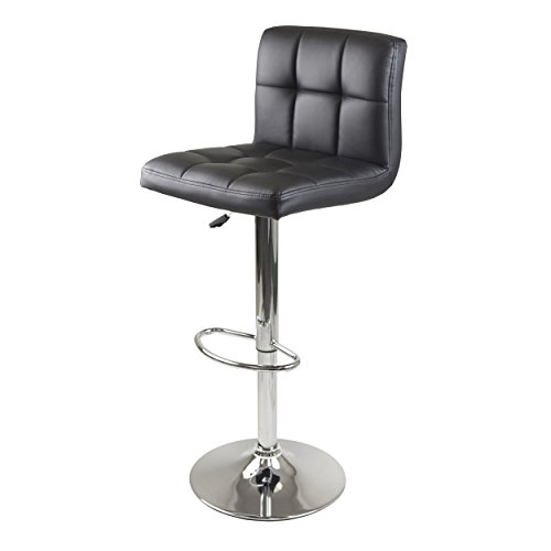 Winsome Seat Square (Winsome Stockholm Air Lift Stool, Swivel Square Grid Faux Leather Seat, Black)
