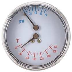 Boiler Gauge, Round, 0-75 PSI, 60 to 320 F (Boiler Temp Gauge)