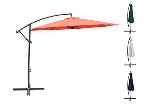 3m Ampelschirm, Sonnenschirm, Gartenschirm, Sonnenschutz, Kurbelschirm, Schirm, Ampel (Terrakotta)