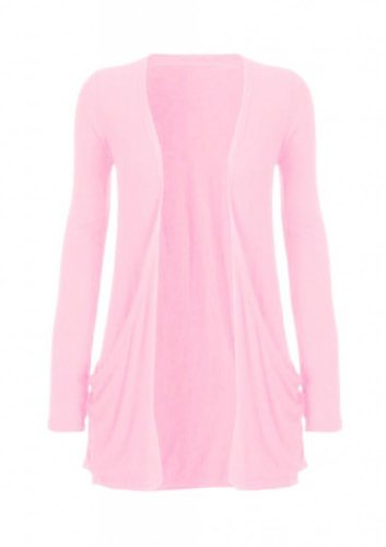 Hot Hanger Ladies Plus Size Pocket Long Sleeve Cardigan 16-26 (24-26 XXXL, Baby Pink)