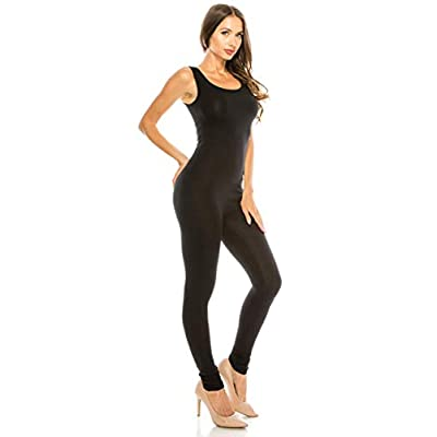 The Classic Womens Stretch Cotton Sleeveless One Piece Unitard Jumpsuit Bodysuits Small to Plus: Clothing